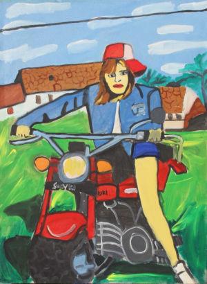 Fille à la moto